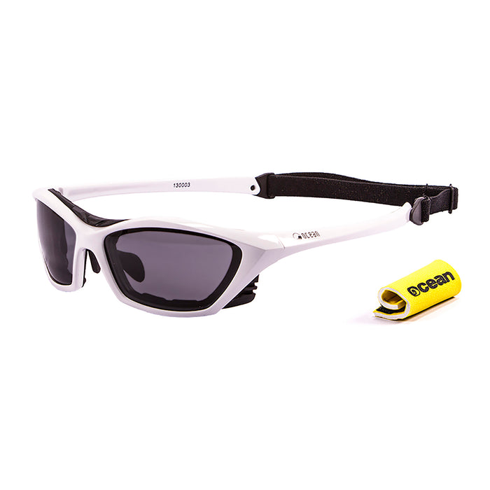 Ocean sunglasses model lake garda 13001.1 with shiny black frame and revo red lens polarized eyewear for water sports