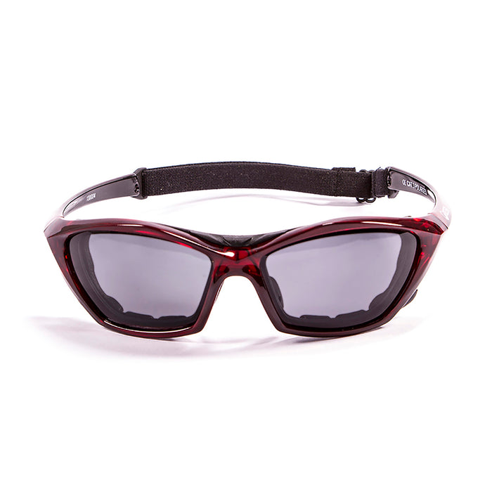 Ocean sunglasses model lake garda 13001.3 with shiny white frame and revo red lens polarized eyewear for water sports