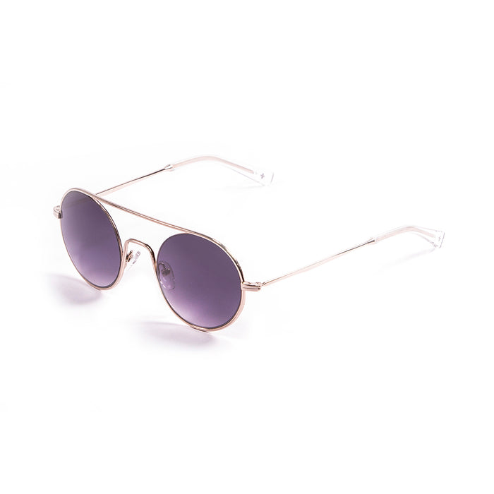 ocean sunglasses KRNglasses model CERCLE SKU LE10.1 with silver frame and brown lens