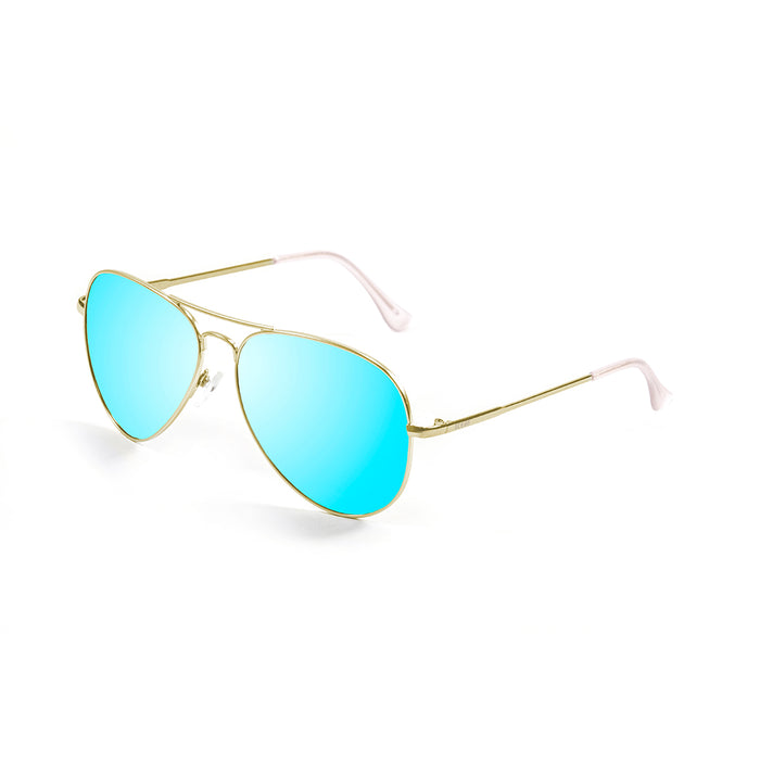 ocean sunglasses KRNglasses model AVIATOR SKU LE18111.3 with gold frame and blue lens