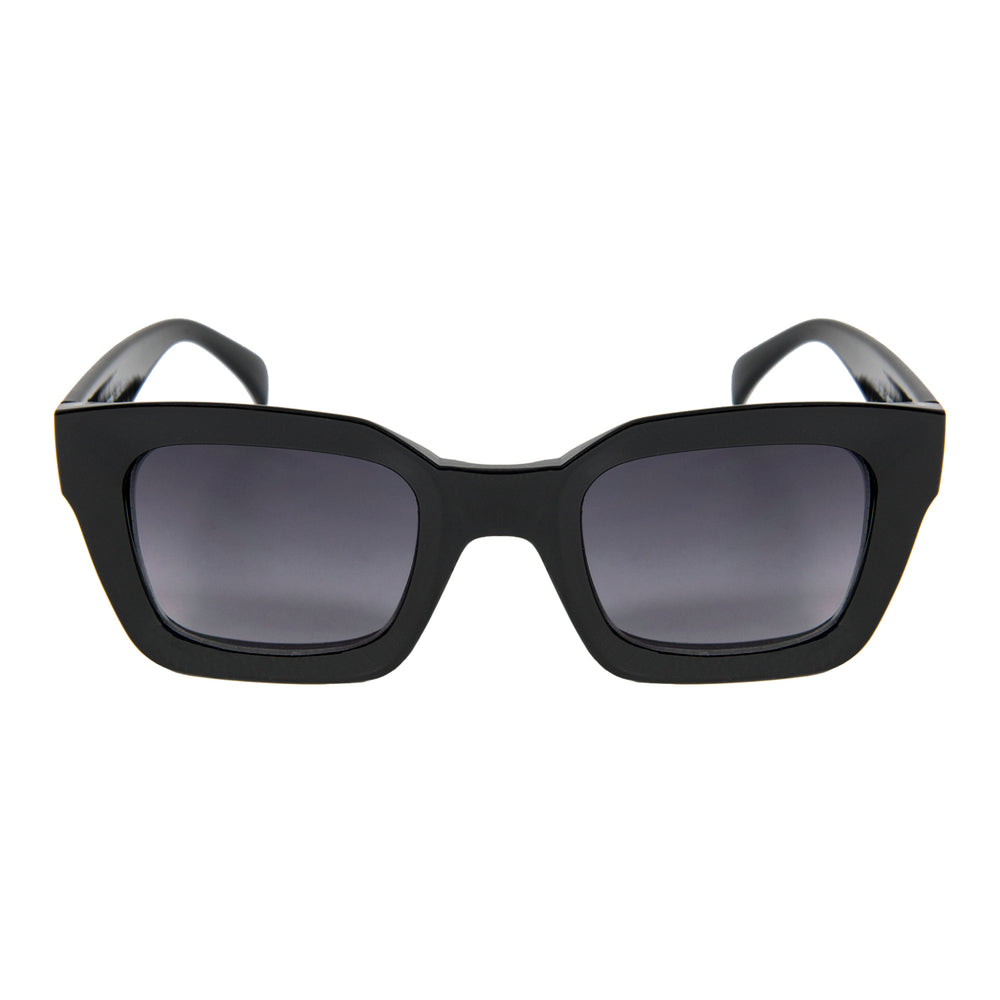 ocean sunglasses KRNglasses model LAURENT SKU LE402.1 with black frame and smoke lens