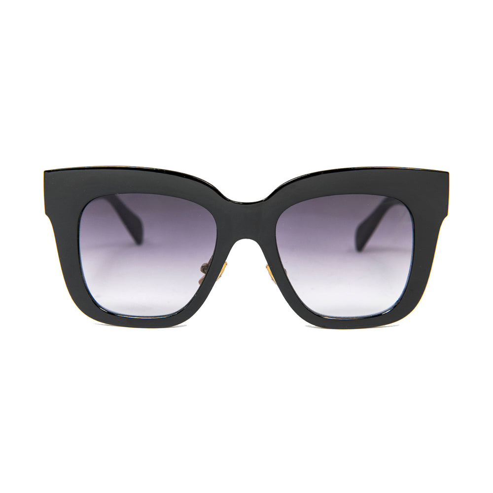 ocean sunglasses KRNglasses model LOUP SKU LE403.1 with black frame and smoke lens