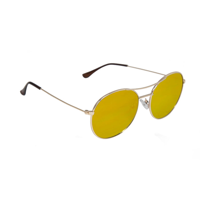 ocean sunglasses KRNglasses model TOURS SKU LE41.3 with gold frame and gold revo lens