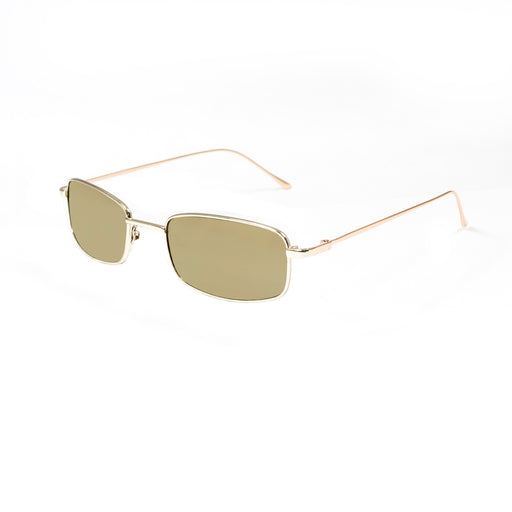ocean sunglasses KRNglasses model AGDA SKU LE46.1 with silver frame and blue lens