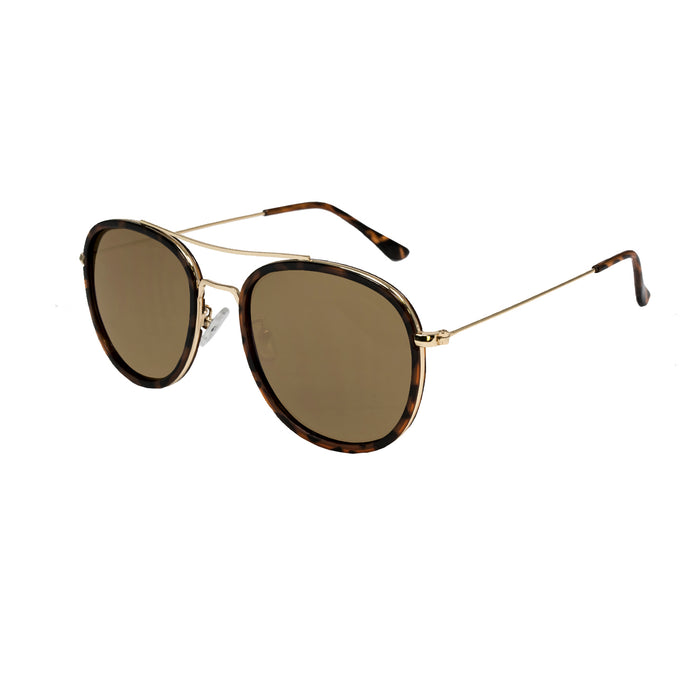 ocean sunglasses KRNglasses model LILLE SKU LE49.4 with amber frame and green lens