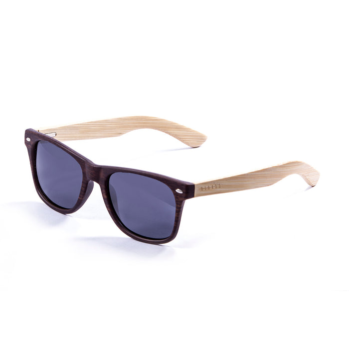 ocean sunglasses KRNglasses model BIARRITZ SKU LE50001.1 with matte black frame and blue revo lens