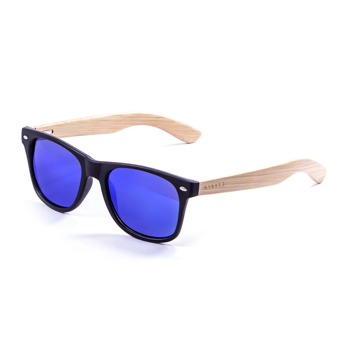 ocean sunglasses KRNglasses model BIARRITZ SKU LE50011.3 with earth brown frame and blue revo lens