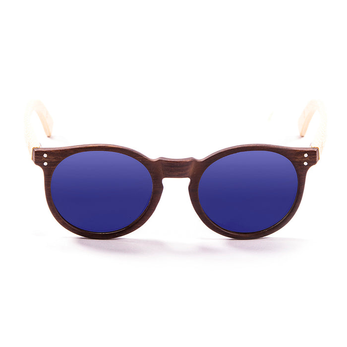 ocean sunglasses KRNglasses model lenoirNE SKU LE55001.2 with nickel brown frame and blue revo lens