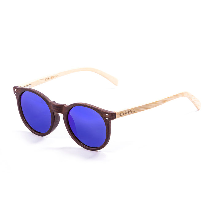 ocean sunglasses KRNglasses model lenoirNE SKU LE55001.3 with earth brown frame and blue revo lens