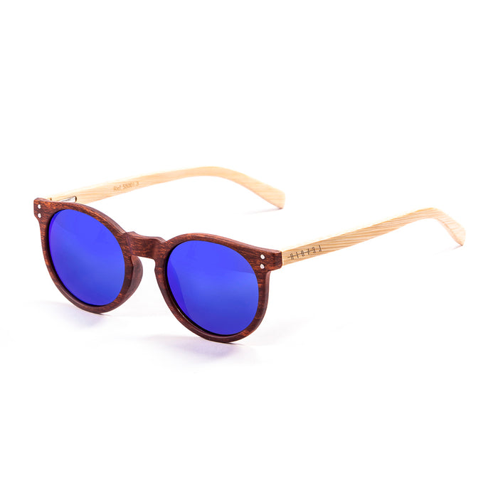 ocean sunglasses KRNglasses model lenoirNE SKU LE55001.6 with transparent frame and blue revo lens