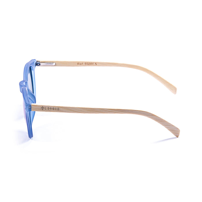 ocean sunglasses KRNglasses model lenoirNE SKU LE55011.2 with light brown frame and blue revo lens