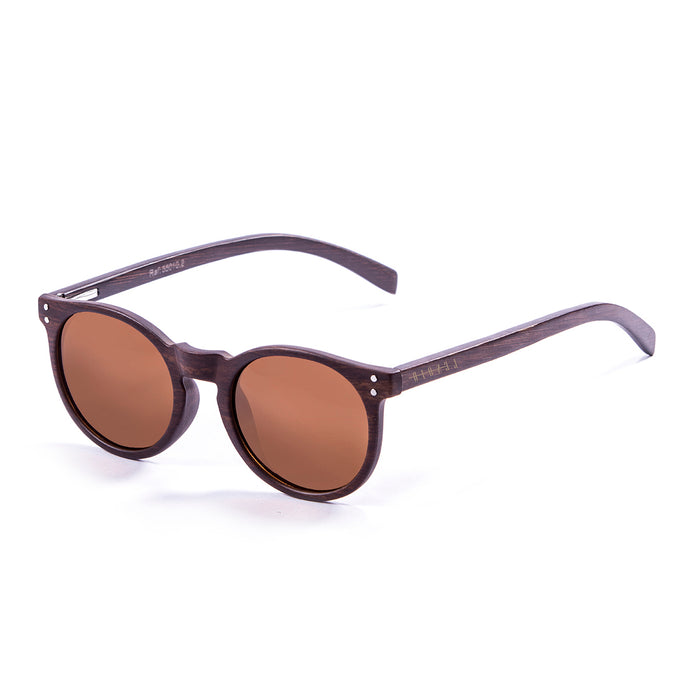 ocean sunglasses KRNglasses model lenoirNE SKU LE55012.6 with transparent frame and red revo lens