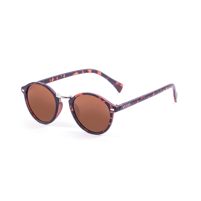 ocean sunglasses KRNglasses model LILLE SKU 10309.3 with demy brown frame and revo blue lens