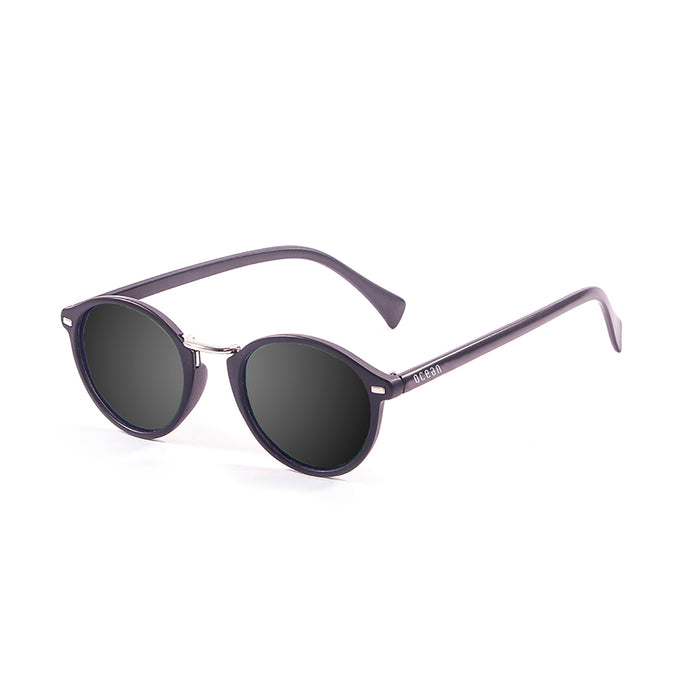 ocean sunglasses KRNglasses model LILLE SKU 10306.3 with matte black frame and revo blue sky lens