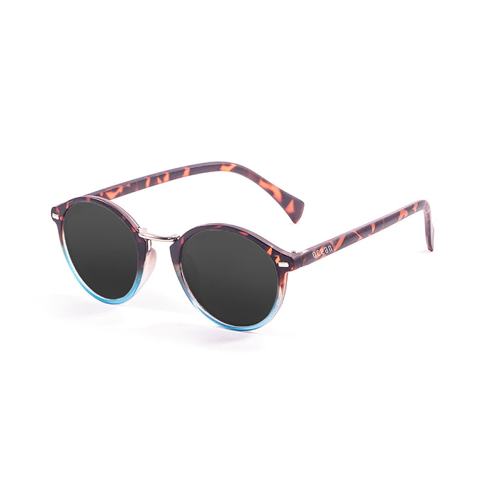 ocean sunglasses KRNglasses model LILLE SKU 10300.9 with demy brown & blue transparent down frame and smoke lens