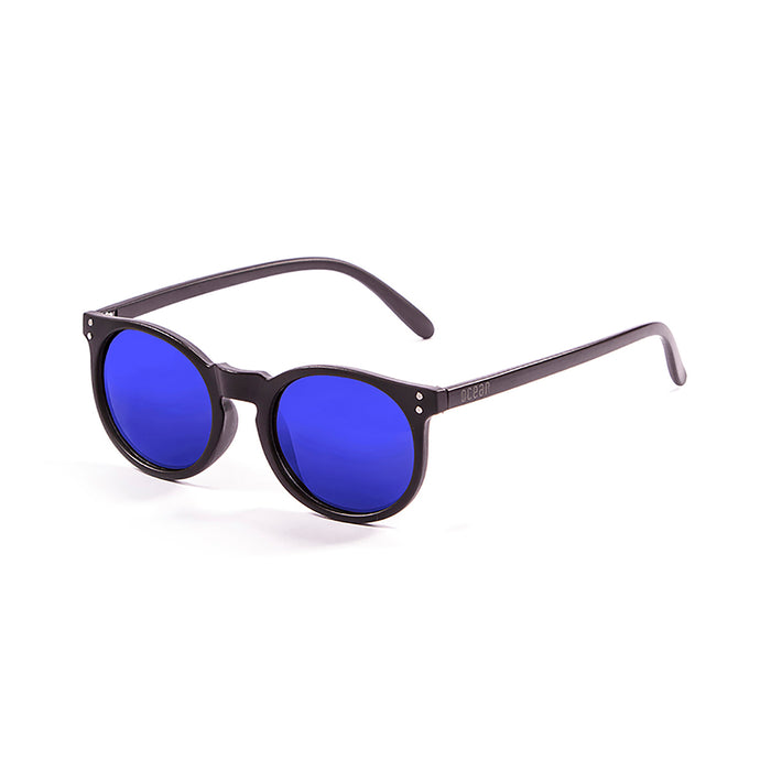 ocean sunglasses KRNglasses model LIZARD SKU 72001.3 with matte black frame and revo blue lens