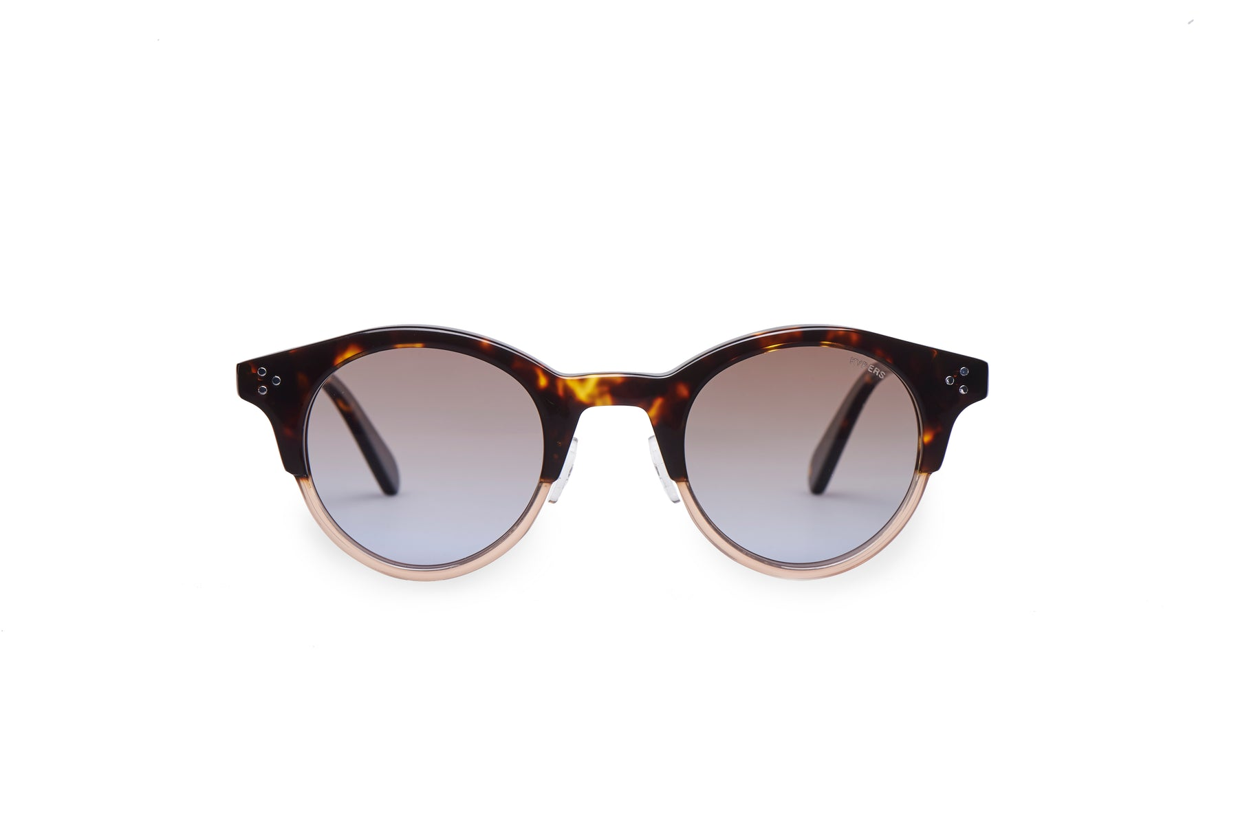 KYPERS sunglasses model LOLA LO001 with dark havana & crystal rose frame and gradient brown lens