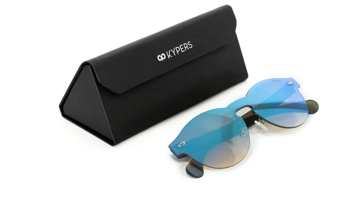 KYPERS sunglasses model LUA LU004 with black frame and purple mirror lens