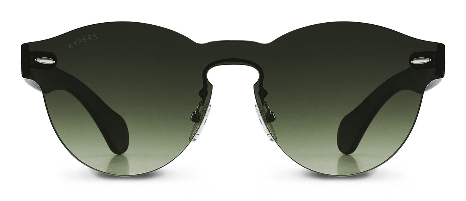 KYPERS sunglasses model LUA LU005 with black frame and green mirror lens