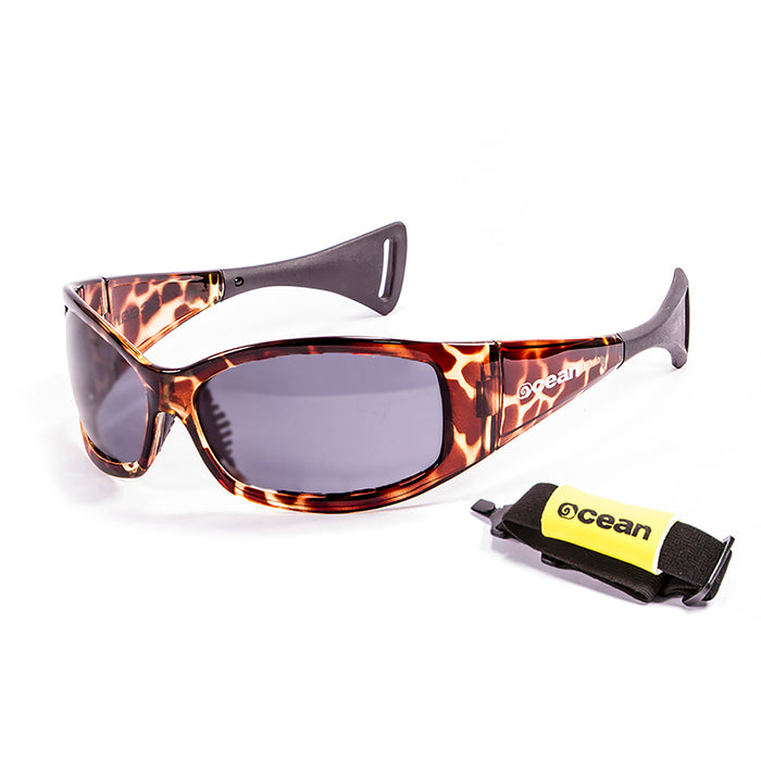 Ocean sunglasses model mentaway 1111.3 with white frame and smoke lens polarized eyewear for water sports