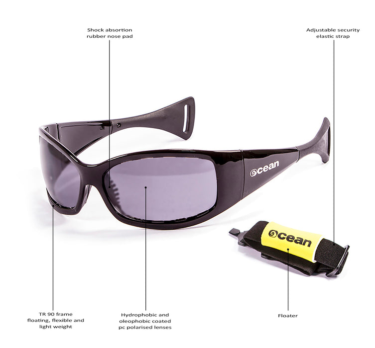 Ocean sunglasses model mentaway with frame and lens polarized eyewear for kiteboarding and surfing