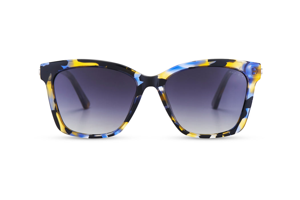 KYPERS sunglasses model MARTHA MT003 with blue / yellow / black pattern frame and gradient grey lens