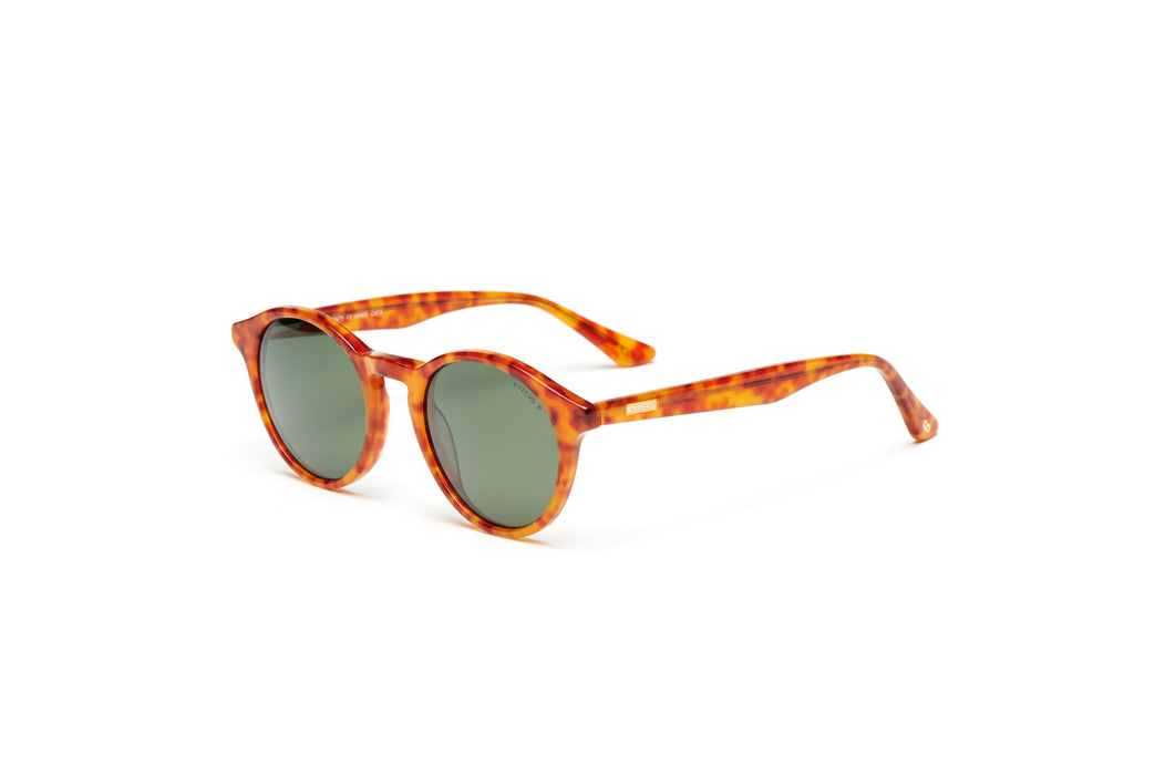 KYPERS sunglasses model MONTY MY002 with havana green frame and blue revo lens