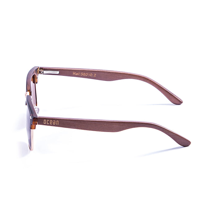 ocean sunglasses KRNglasses model REMEMBER SKU 56011.2 with demy brown frame and revo blue lens