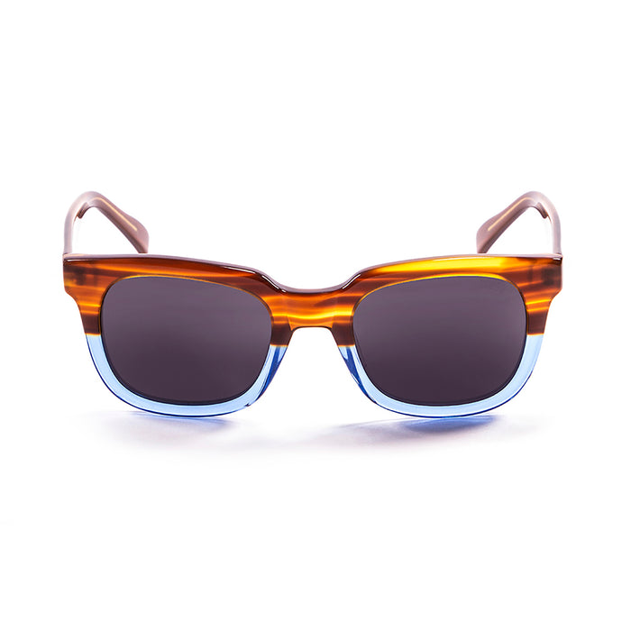 ocean sunglasses KRNglasses model SAN SKU 61000.97 with demy black with transparent white bellow frame and smoke lens