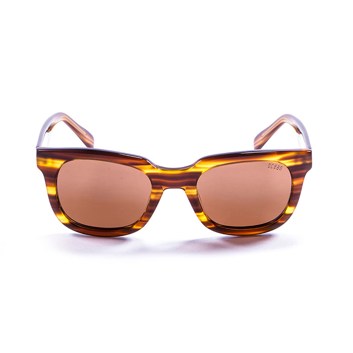 ocean sunglasses KRNglasses model SAN SKU 61000.0 with brown & white frame and smoke lens