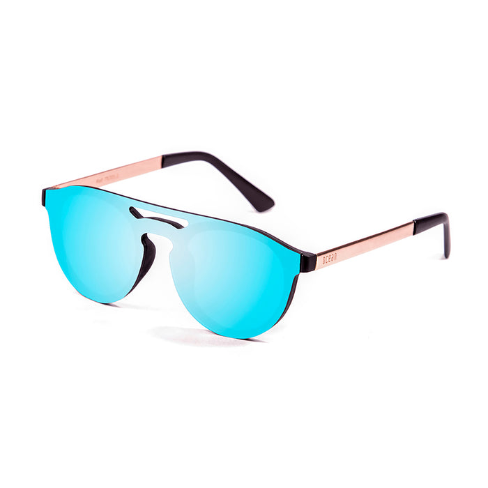 ocean sunglasses KRNglasses model SAN SKU 75205.0 with matte black frame and silver mirror flat lens