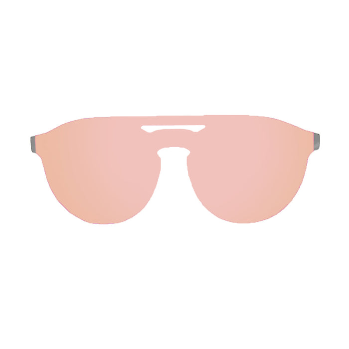 ocean sunglasses KRNglasses model SAN SKU 75209.4 with matte solid grey frame and revo pastel pink flat lens