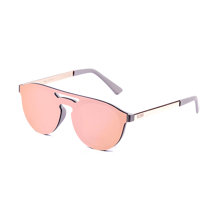 ocean sunglasses KRNglasses model SAN SKU 75203.0 with matte black frame and revo blue sky flat lens