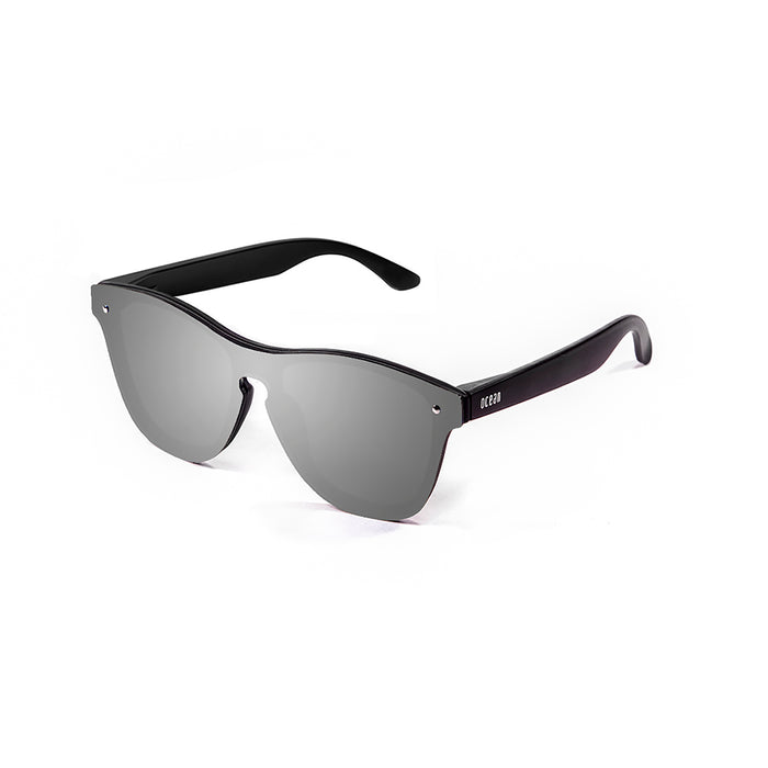 ocean sunglasses KRNglasses model SOCOA SKU 40003.15 with matte black frame and revo blue sky flat lens