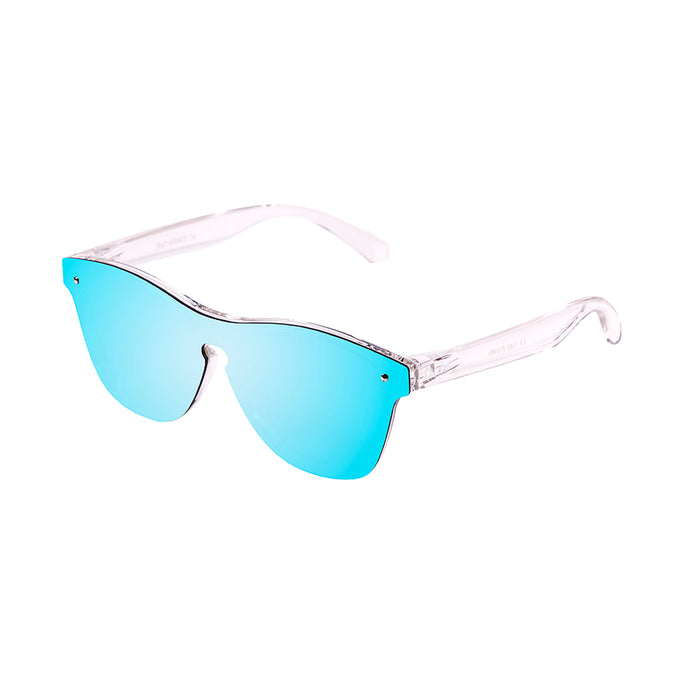 ocean sunglasses KRNglasses model SOCOA SKU 40003.7 with matte white transparent frame and smoke flat lens