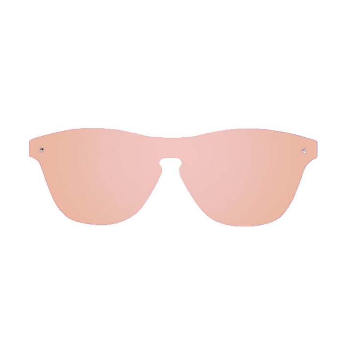 ocean sunglasses KRNglasses model SOCOA SKU 40003.6 with matte solid grey frame and revo pastel pink flat lens