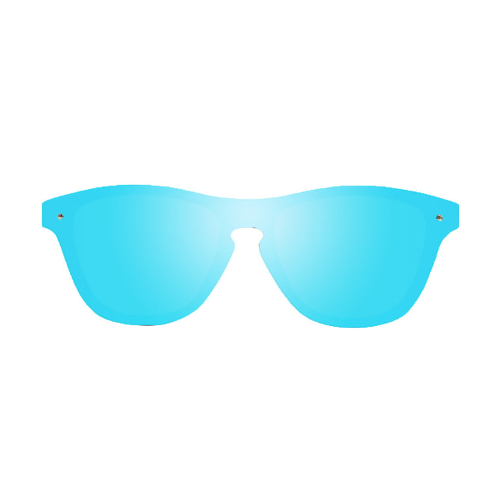 ocean sunglasses KRNglasses model SOCOA SKU 40003.2 with matte black frame and blue mirror flat lens