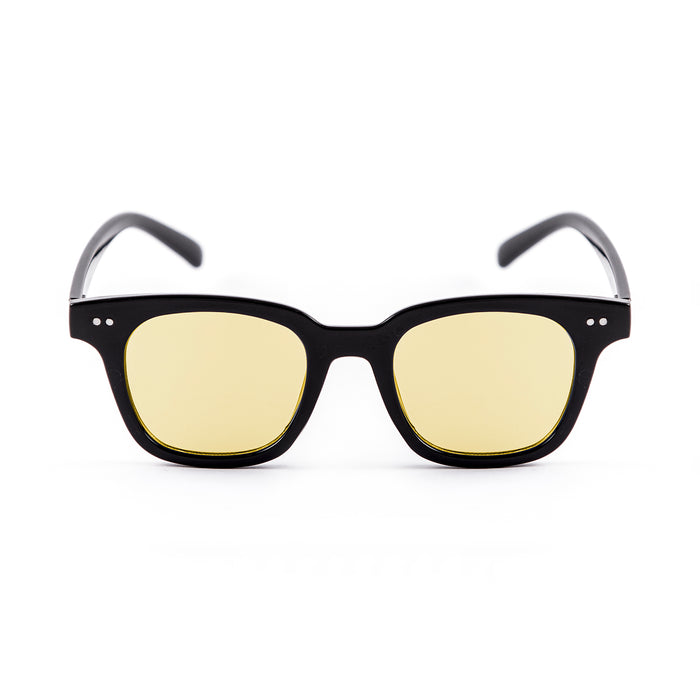 ocean sunglasses KRNglasses model SOHO SKU 18114.4 with shiny black frame and smoke flat lens