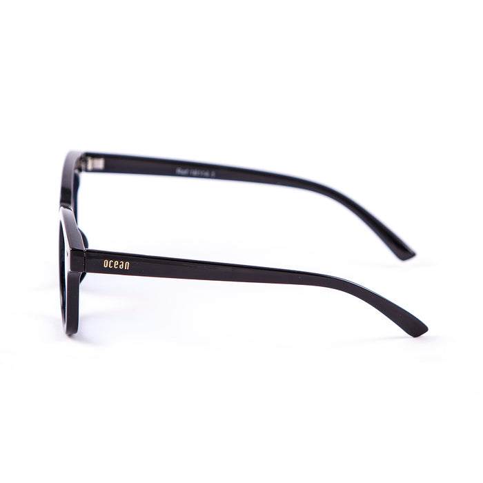ocean sunglasses KRNglasses model SOHO SKU 18114.2 with shiny black frame and yellow transparent flat lens