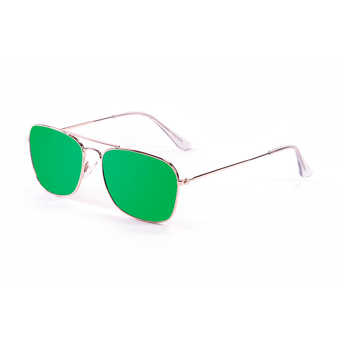 ocean sunglasses KRNglasses model SORRENTO SKU 18220.6 with shiny gold frame and revo green lens