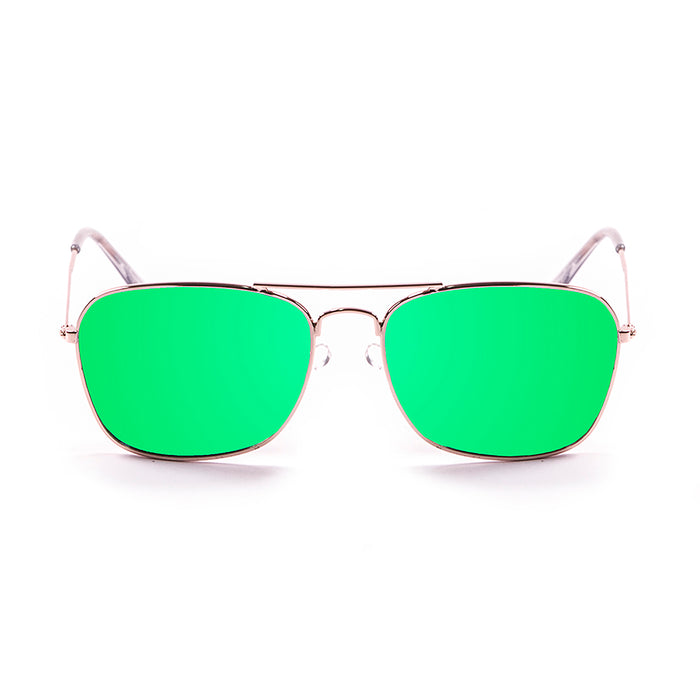 ocean sunglasses KRNglasses model SORRENTO SKU 18220.5 with shiny gold frame and green lens