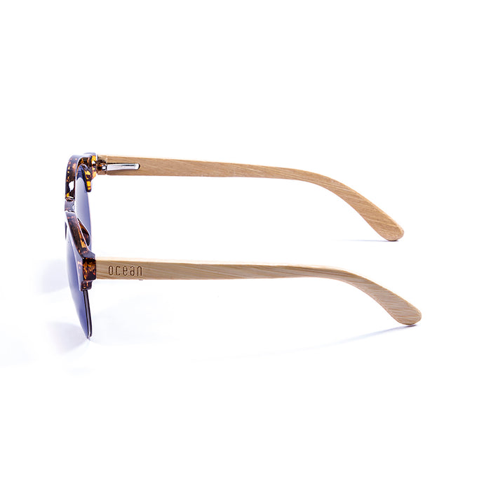 ocean sunglasses KRNglasses model SOTAVENTO SKU 65002.3 with bamboo brown frame and revo green lens