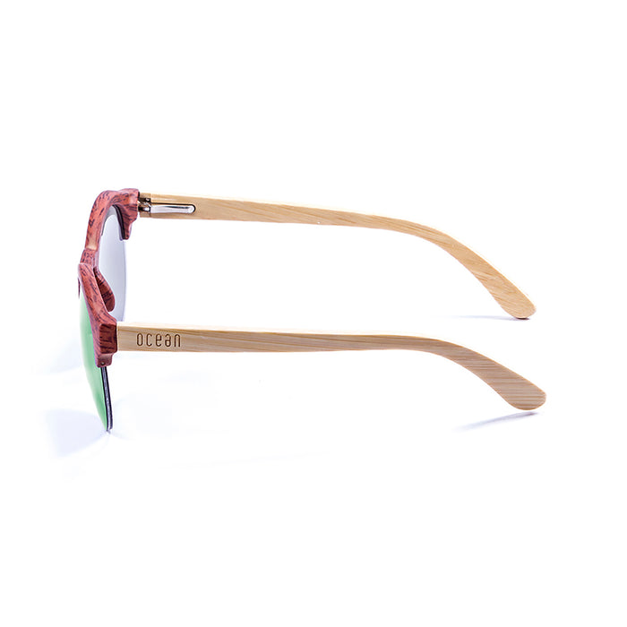 ocean sunglasses KRNglasses model SOTAVENTO SKU 65001.3 with bamboo brown frame and revo blue lens