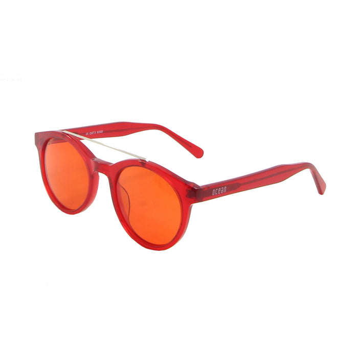 ocean sunglasses KRNglasses model TIBURON SKU 10200.11 with transparent blue frosted frame and transparent red lens