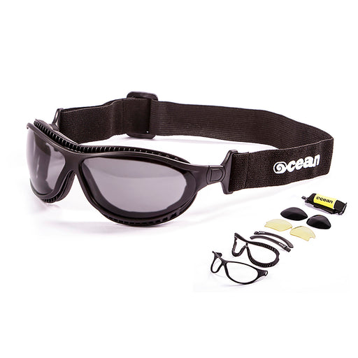 Ocean sunglasses model tierra de fuego 12200.1 with shiny black frame and smoke lens polarized eyewear for water sports