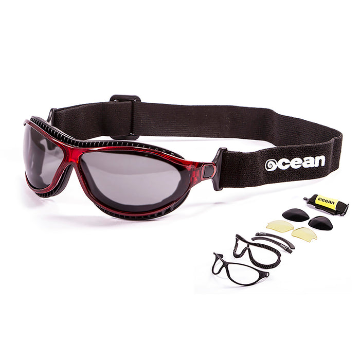 Ocean sunglasses model tierra de fuego 12201.0 with matte black frame and revo red lens polarized eyewear for water sports