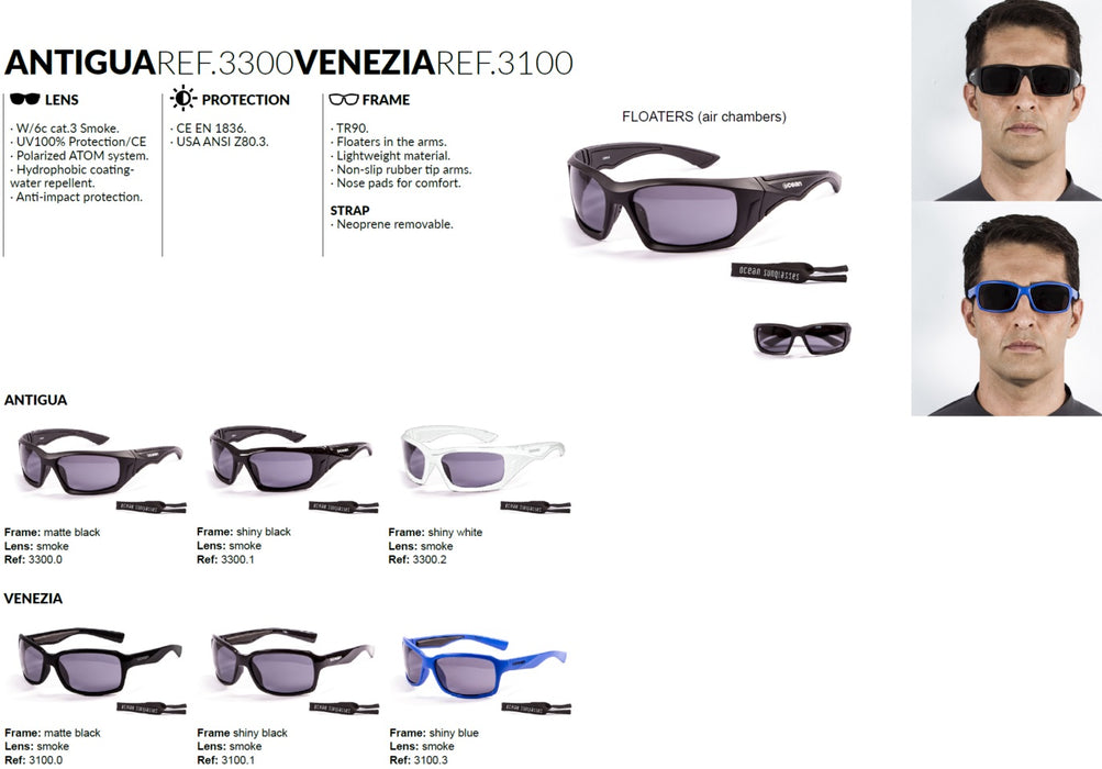Ocean sunglasses model venezia with frame and lens polarized eyewear for kiteboarding and surfing