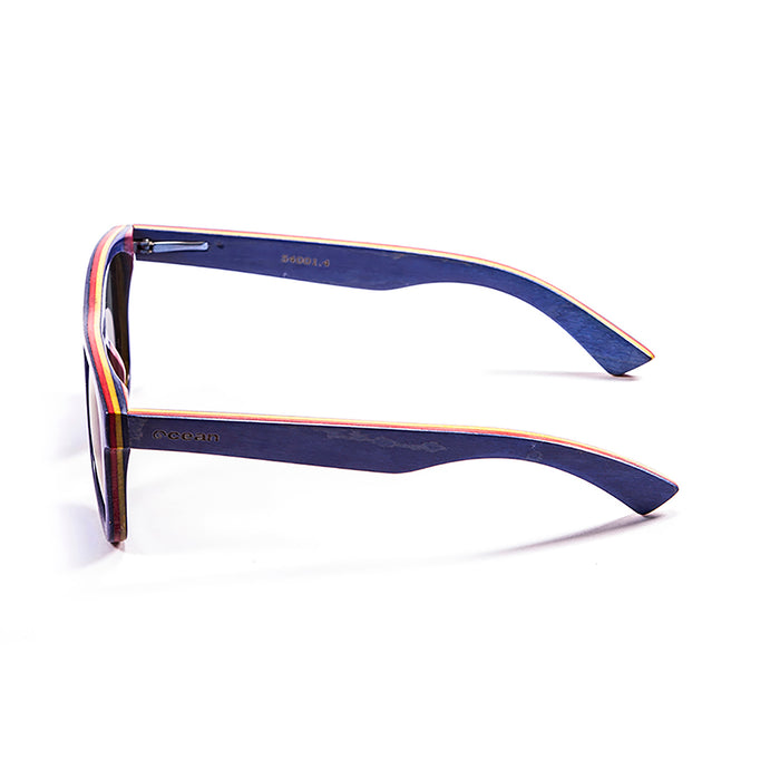 ocean sunglasses KRNglasses model VENICE SKU 54001.6 with skate dark brown & line blue frame and smoke lens