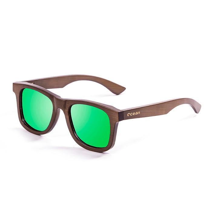 ocean sunglasses KRNglasses model VICTORIA SKU 53003.1 with bamboo brown frame and revo green lens