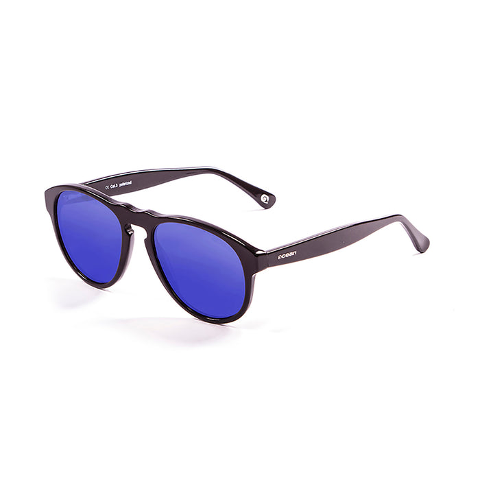 ocean sunglasses KRNglasses model WASHINGTON SKU 5001.1 with shiny black frame and revo blue lens